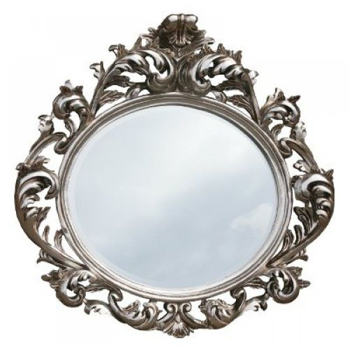 Baroque Silver Oval Bevelled Mirror